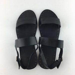 Frye Ally 2 Band Sling Leather Black Sandal Sz8.5